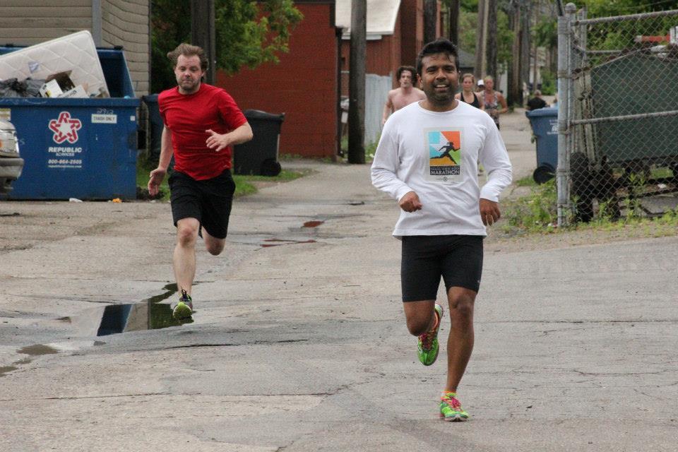 Michael M. and Amit K. running hard to finish Murph