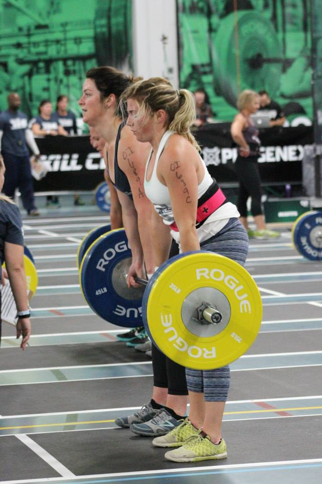Mariah O. and Clare D. cranking out partner deadlifts at the 40-30-20-10 event at the 2015 Granite Games this past weekend