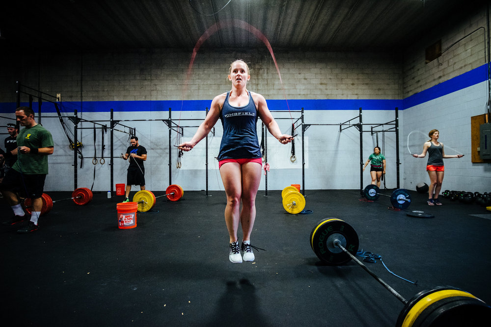 Sarah J. cranking out double unders during a recent workout