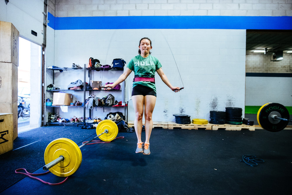 Sam focusing on her Double Unders back in the old space and it was warm enough to have the garage door up.