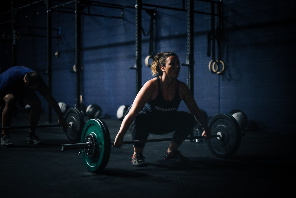 Rachelle getting ready to power snatch last night at 6PM class.