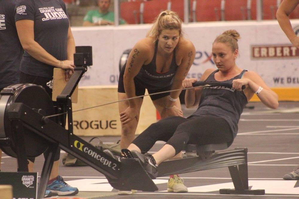 Clare D. pushes Maddie M. just a little harder on the rowing portion of the Granite Games final event.
