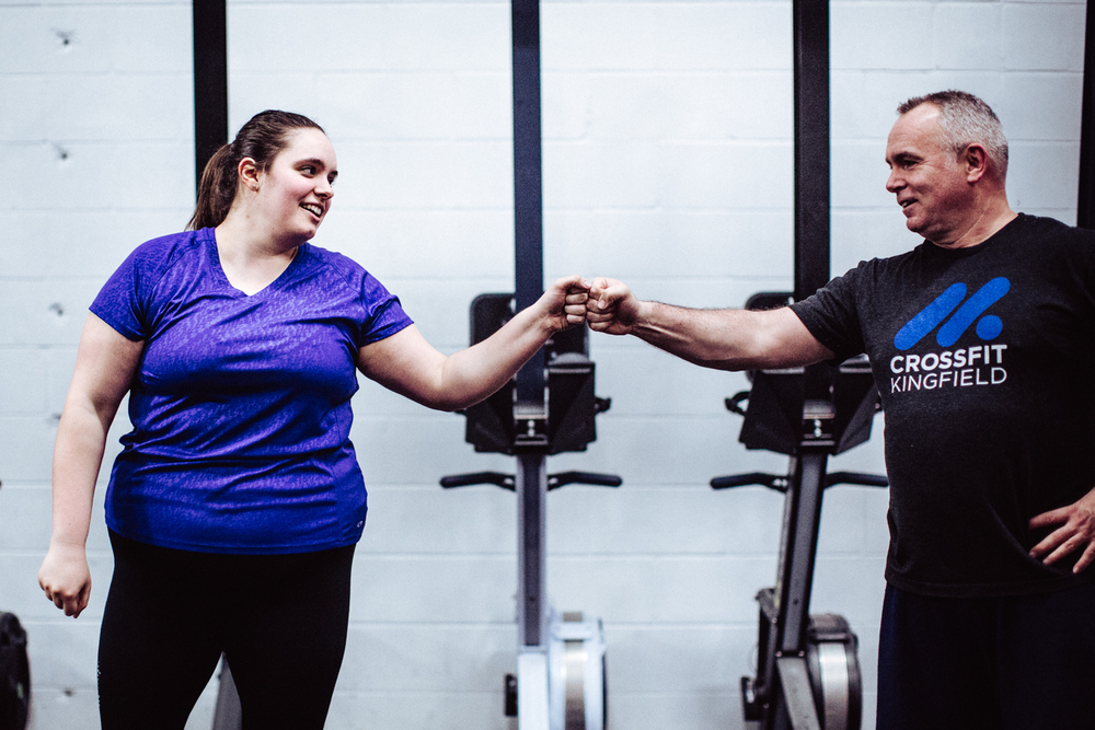 Kristin L. and Brian M. sharing some encouragement before a workout. We miss you Kristin & we hope you're killing it in your new job in Ohio. Come visit us soon!