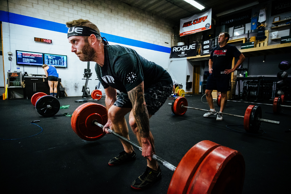 Christian M. working through 225# deads during a metcon over the summer.