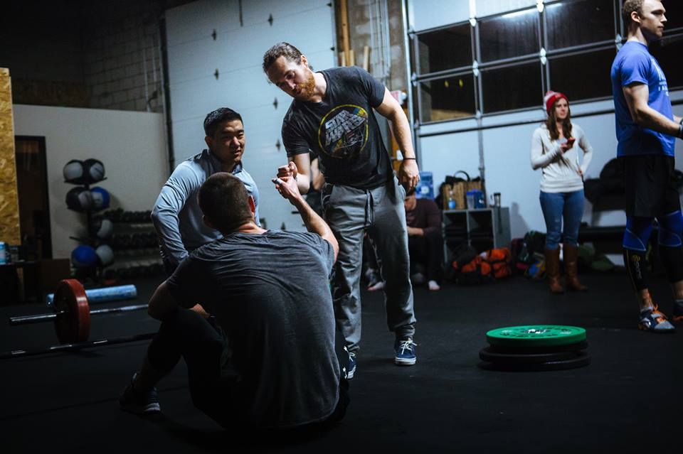 Danny congradulating Louis on a job well done on CrossFit Open workout 16.2.