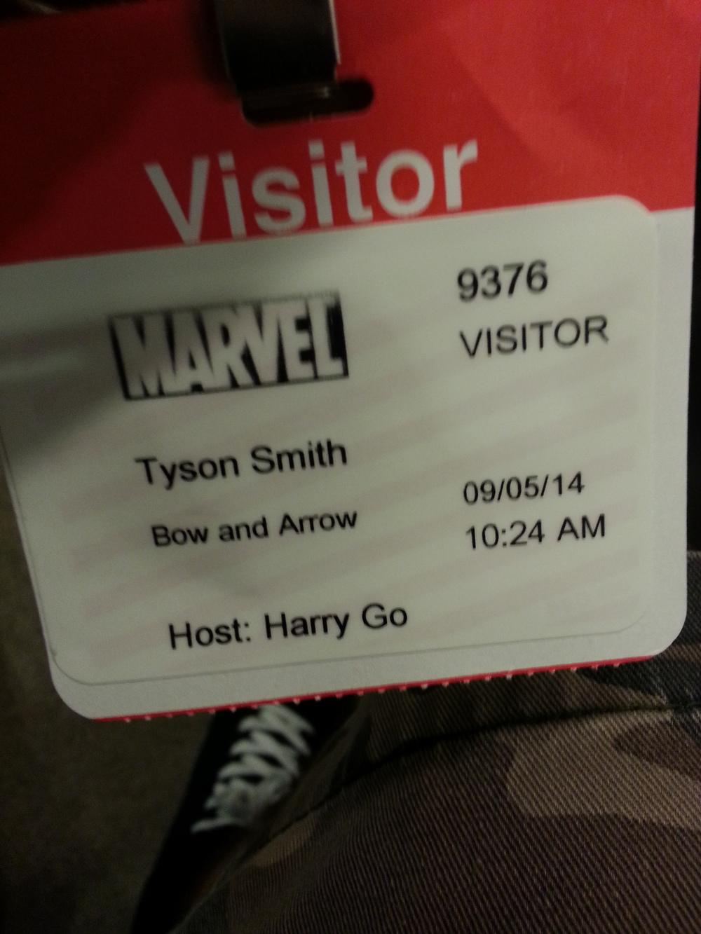 Badge for the Marvel offices in NYC