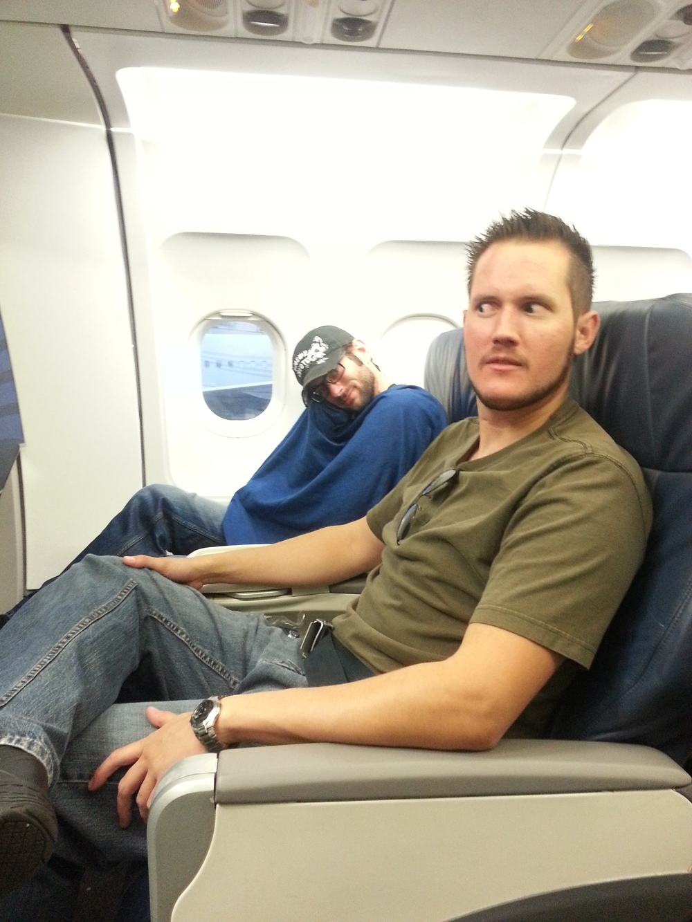 DP Austin Nordell and Camera Op Brenton Covington enjoying our first class seats to Philly