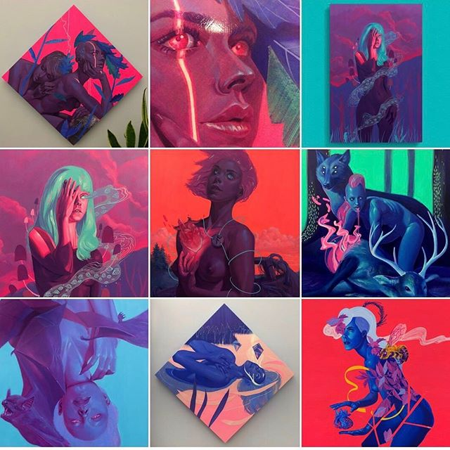My #topnine2018 seem to line up really well with my favorite pieces. It's been a great year and I've learned so much. Hopefully I can get one or two more pieces by the end of the year 🤞 . . . . . . #topnine #artistsoninstagram #acrylic #mixedmedia #collage #art #lowbrow #neon #figurativeart