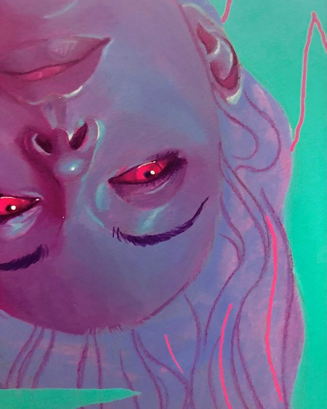 Sneak peek of a piece I'll have up at @gristleartgallery in Bushwick. The show opens this Saturday 1.19! . . . . . . . #glowingeyes #bats #caves #upsidedown #face #acrylicpainting #figurativeart #artistsoninstagram #neon #mixedmedia #vampire #maybe #nocturnal #vaporwave #darkart #lowbrowart