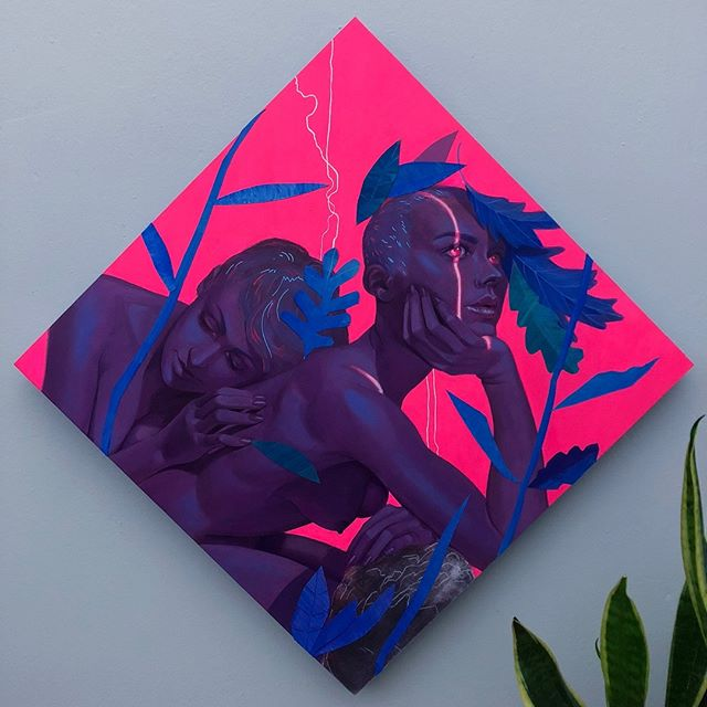 If you happen to be in Philly, I'll have two pieces in  @archenemyarts 2019 Showcase which opens next week. Im so stoked to be in this show and wish I could be there for the opening. . . . . . . . #artistsoninstagram #figurativeart #acrylic #acrylicpainting #mixedmedia #collage #neon #glowingeyes #lowbrow #contrast #float #visions #jeaneverettmillais #gallery #galleryopening