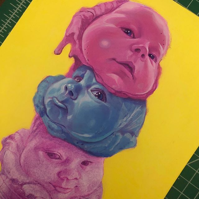 Its a little saccharin, but this is a piece I'm finally getting around to doing of Matilda a.k.a Boo Scoops. . . . . . #artistsoninstagram #acrylicpainting #wip #illustration #icecream #baby #cone #scoops #faces #portrait #underpainting