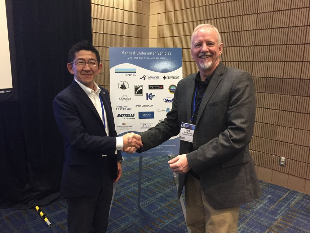 Masanobu Yanagitani, JAMSTEC, with Will Kohnen, Hydrospace Group & MUV Committee Chair