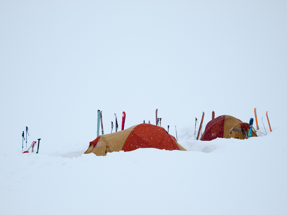 Camped in a whiteout setting on a glacier. Photo Michal Rozworski