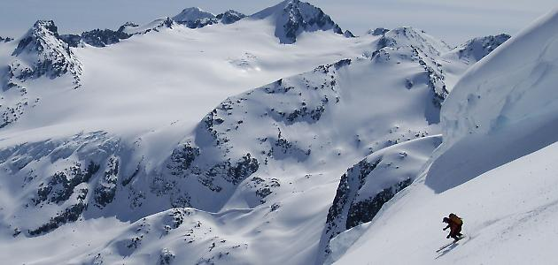 Some of the amazing terrain on the traverse. Photo Whistler Guides