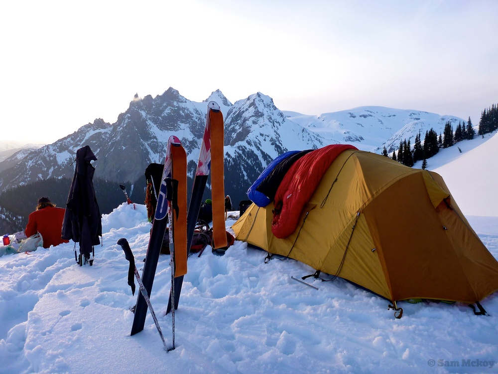 Drying gear out on night 10 after 9 nights of stormy weather. Photo Sam Mckoy