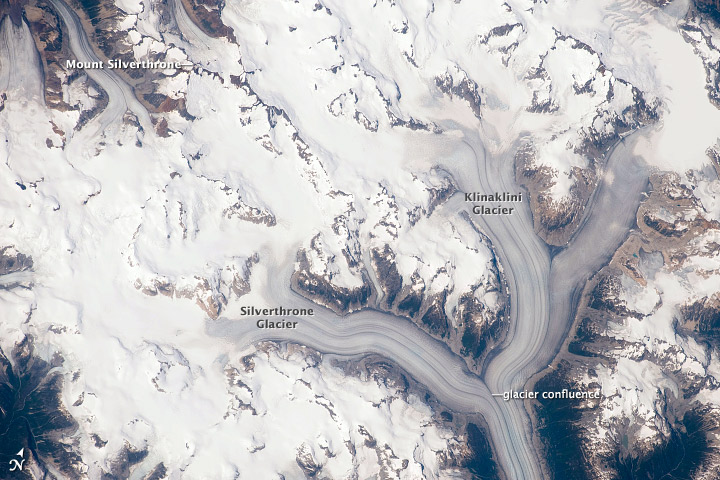 The Ha-Iltzuk Icefield. Notice the ridges of debris which form within the glacier. These occur when another glacier merges putting the debris pushed along the edges into the middle.