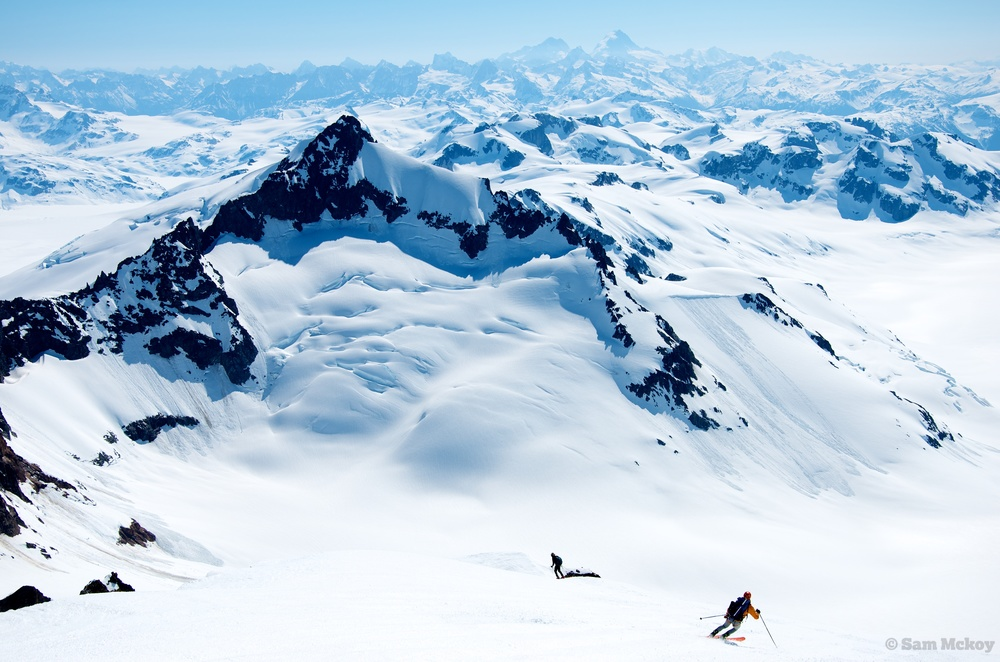 Skiing down from Silverthone. Mount Fitzgerald in the background.