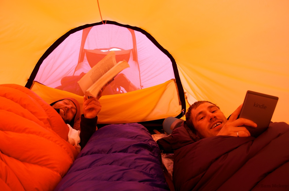 Tim and Nic reading on our tent bound days.