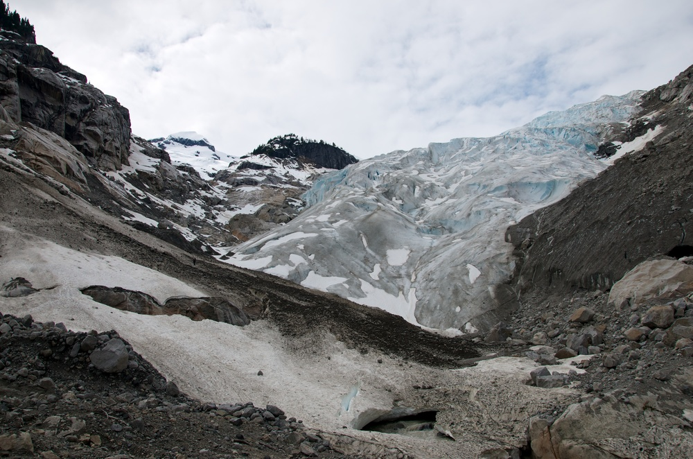 The toe of the Tumult Glacier. Can you spot Nic in the avalanche debris?