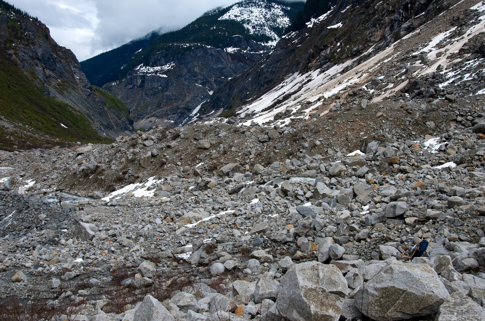 Some of the boulder fields of the Tumult Valley. Nic can be spotted in the lower right corner.