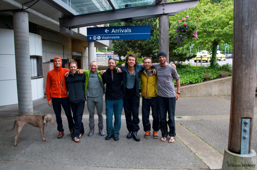 The group all together at the finish line in Horseshoe Bay. Left to right. Florian, Nic, Nick, Tim, Artem, Michal and Myself (Sam).