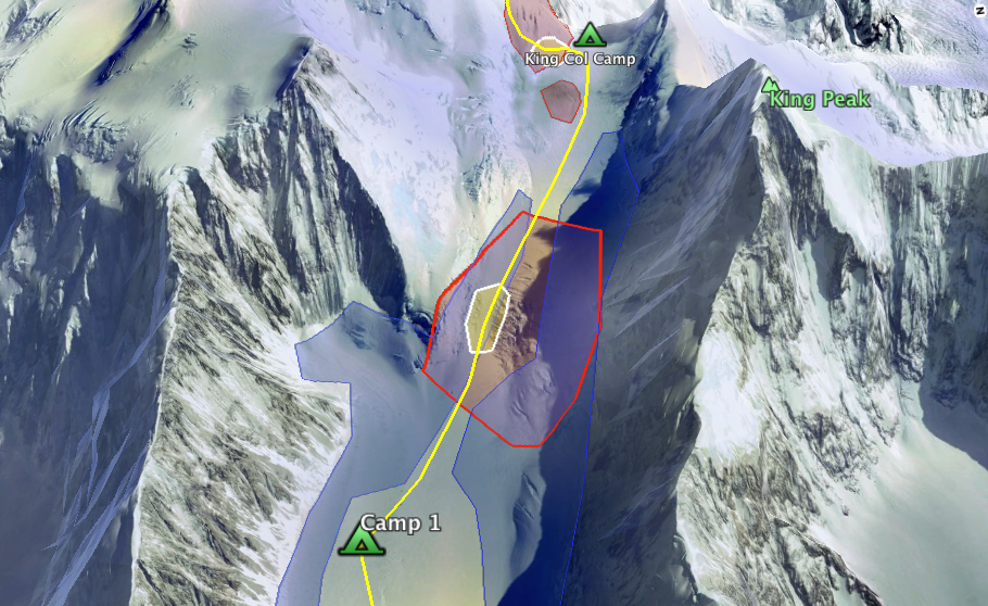 Red denotes crevasse danger. Blue denotes overhead avalanche exposure. Yellow Denotes Avalanche terrain.