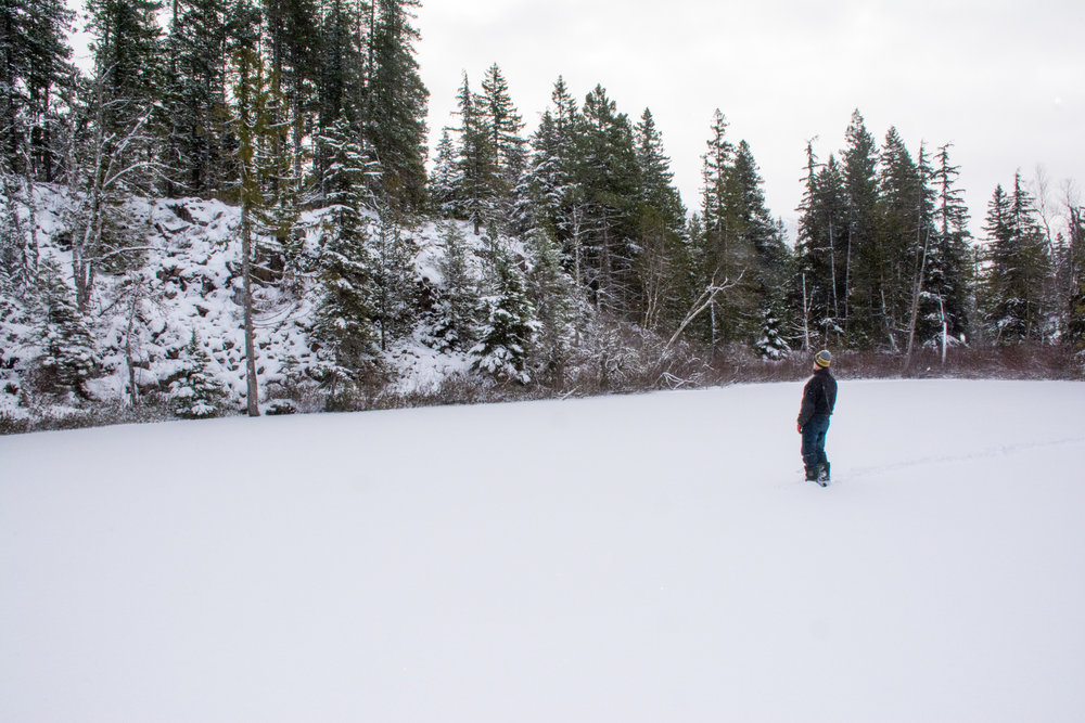 My dad taking in the scene of yellow cedars and deep solid ice at Swim Lake nestled in the ancient lava flows of Brandywine Falls Provincial Park