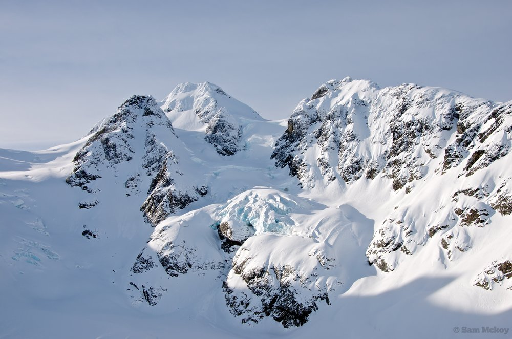 Twin One glacier. Matier Center, Twin One couloir left.