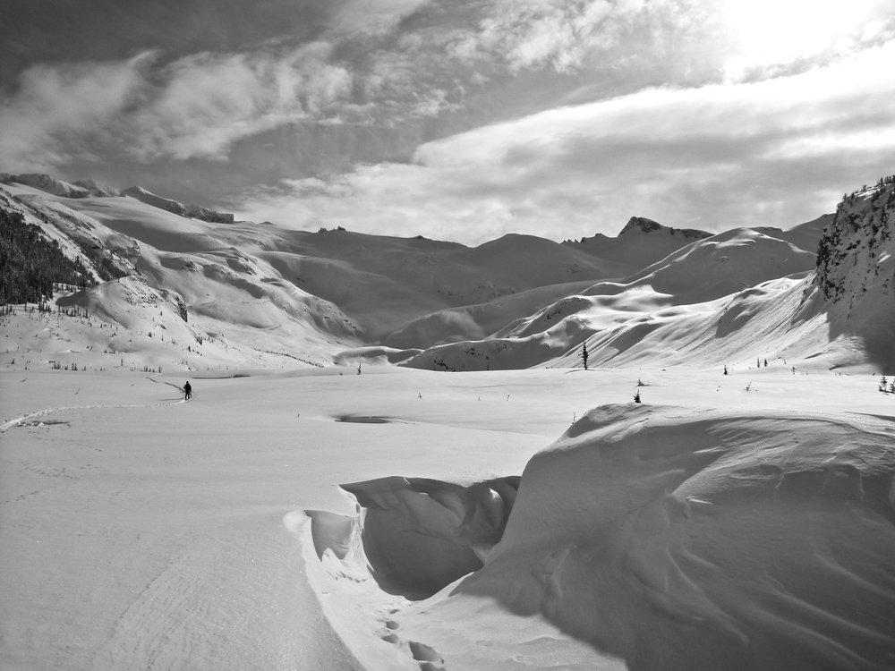 Skiing East of the Hut. Photo Sam Mckoy