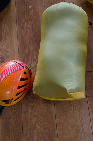 The sleeping bag in it's compression sack. I could compress the sleeping bag further adding my sleeping pad, down booties and a small jacket to the same bag.