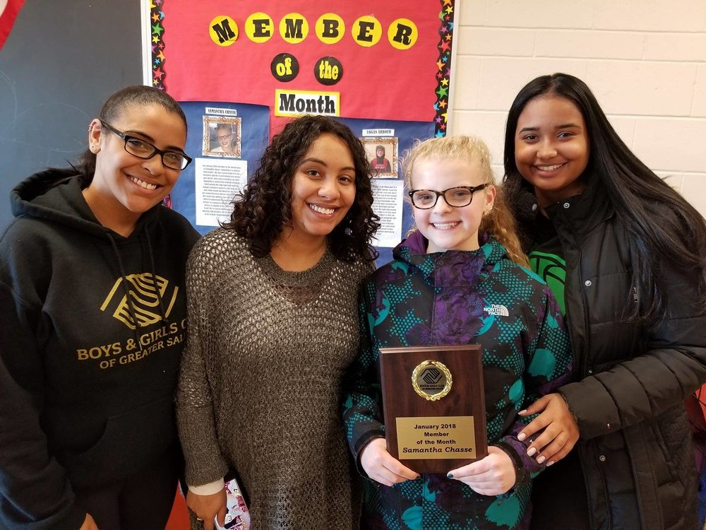 Youth of the Month Samantha Chasse Shown here with Youth  Staff Josenny Duran, Program DIRECTOR Grace Duran and  Youth Staff Ashley Gonzalez