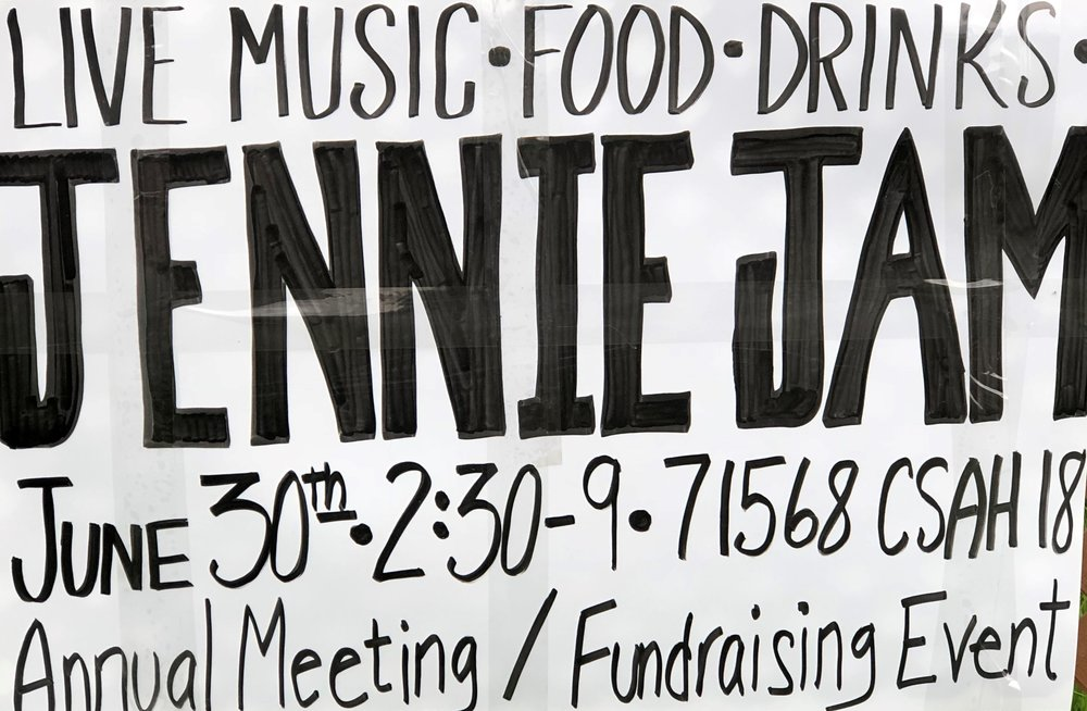 Jim and Karen Meyer invite you to the                                                     Lake Jennie Association Annual Picnic And Jennie Jam           Saturday June 30th       2:30-4 PM Lake Meeting       4-9 PM Music and Auction Items       71568 CSAH 18, Dassel       Food and Refreshments       Live music by Jeff James classic rock band       Lawn Games and Boat Rides       Silent Auctions and Raffles       See signs for parking and shuttles       Donations appreciated to the lake association       Bring your family and friends
