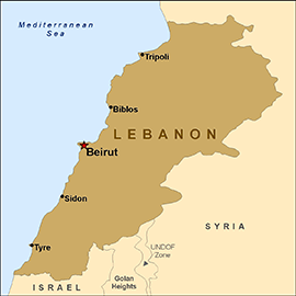 Photo: http://wwwnc.cdc.gov/travel/images/map-lebanon.png