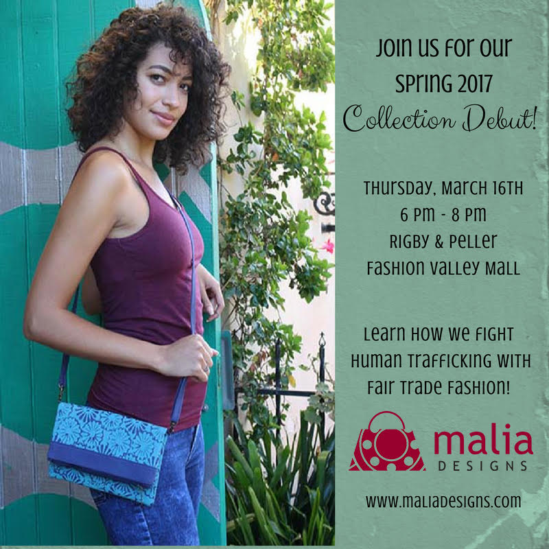 We are so excited for the Malia Designs Trunk Show! Join us for an evening of ethical fashion and fun! Bring your friends for a GNO at Fashion Valley Mall. No RSVP neccesary.