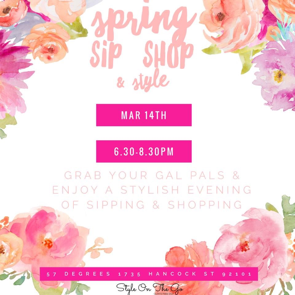 Join us on Wednesday, March 14th for the Sip, Shop, & Style Event! Enjoy our spring collection of eco-friendly and thrift women's fashions, eco-friendly and all natural beauty products, and recycled & fair trade accessories! A portion of each purchase from our booth will be donated to the shelter bunnies at the  San Diego House Rabbit Society!    Get your tickets here!  Eventbrite