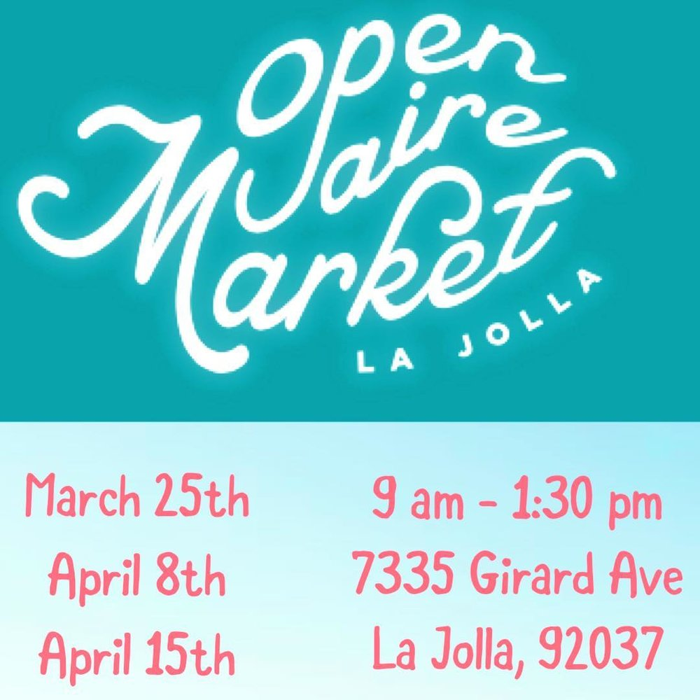 We will be popping up with our collection of eco-friendly fashion, cosmetics, and accessories in La Jolla!  Join us at the market to scoop up on some organic produce, enjoy the ocean breeze, and fall in love with our spring collection of ethical goodies!