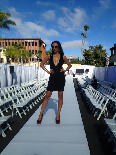 Striking a pose after coaching the runway models for  Fashion Week SD