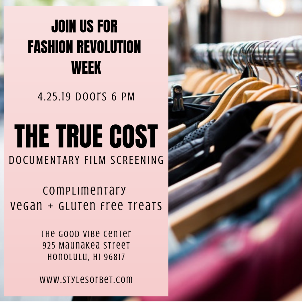 Join us for a screening of the True Cost Documentary during Fashion Revolution Week at the Good Vibe Center on Thursday, April 25th, 2019. Doors will be at 6 PM and the film will begin promptly at 6:30 PM. Guests will enjoy complimentary vegan and gluten free treats.  Bring or wear a piece of clothing from a fast fashion retailer (something that you already own) and participate in a group activity after the film as we use the hashtag #whomademyclothes in efforts to demand serious change from brands that need to hear our voices!  Directed by Andrew Morgan, The True Cost Documentary, sheds light on the travesties that occur behind the scenes of the apparel industry. The exploitation and death of garment workers are completely unacceptable and morally wrong. We are polluting our environment with harsh chemicals that are released into our waters and we are contaminating our soil with harmful pesticides. Fashion is a beautiful form of art and self-expression. It should NEVER bring harm or death to people, animals, and our planet.  Fashion Revolution is a global movement designed to bring awareness to what really goes on behind the scenes in the international apparel industry. Teams from over 100 countries around the world campaign for systemic reform and transparency in the fashion supply chain. On April 24, 2013, the Rana Plaza in Bangladesh collapsed killing 1,134 garment workers. They died while working in unethical and unsafe conditions. Fashion Revolution Week was created to honor their lives and to fight to put an end to future suffering.  Click  here  to reserve your spot!  Watch the trailer  here!