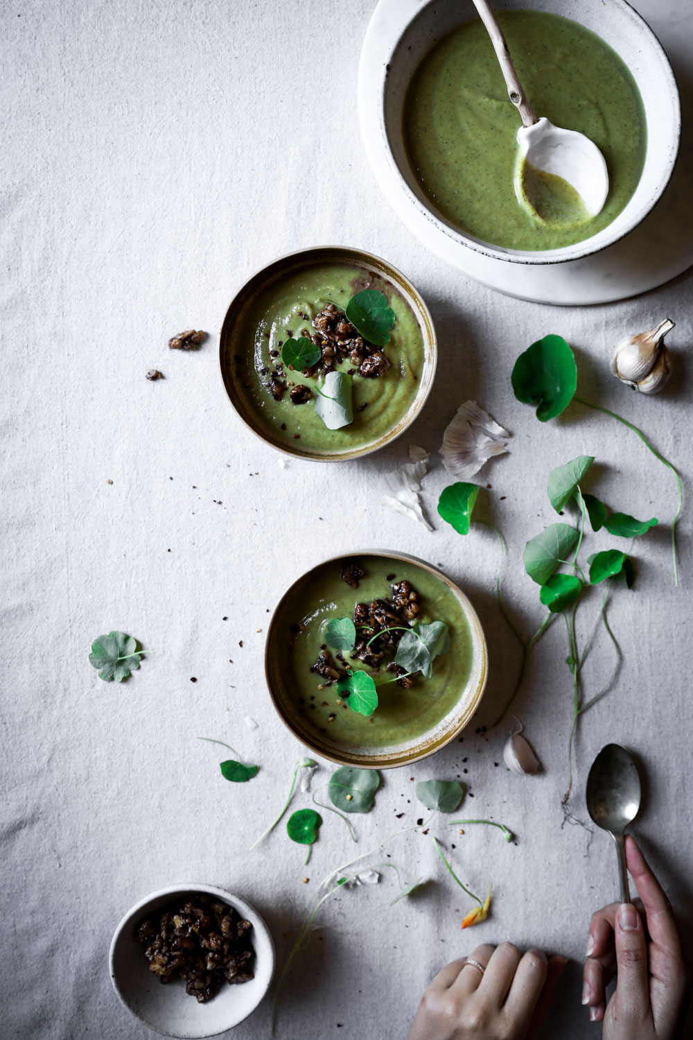 Broccoli Soup with Walnut Salsa⎜The Botanical Kitchen
