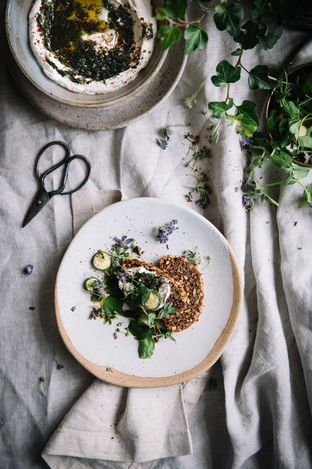 Herbed Goats Cheese w. Sprouts, Baby Courgettes & Borage⎜The Botanical Kitchen