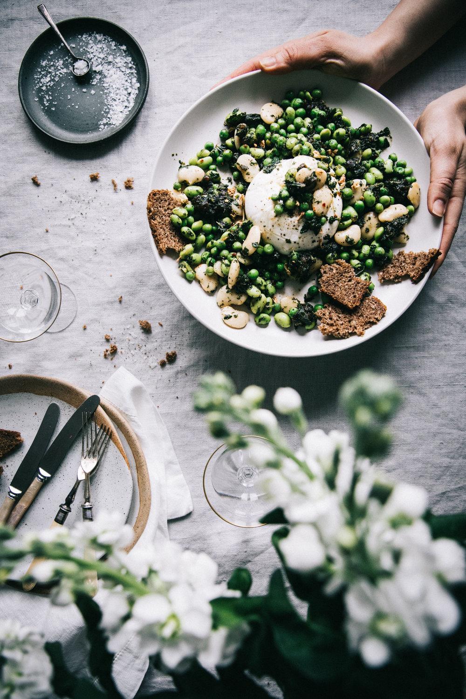 Spring Greens w. Mint Chutney & Burrata⎜The Botanical Kitchen