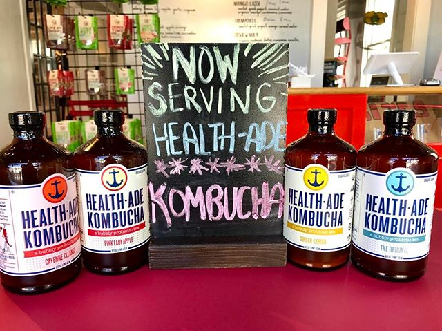 Now serving four flavors of Health-Ade Kombucha! Flavors include: Pink Lady Apple, Cayenne Cleanse, Ginger-Lemon, and Original! Kombucha contains probiotics, which are great for the health of the gut microbiome, and if you aren't already obsessed with your gut health, there's good reason to be, since there's a link between the health of our gut and our mood, and overall wellbeing. #guthealth @healthade