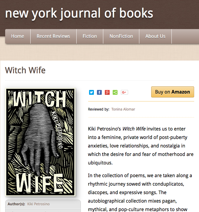 Witch Wife Reviewed in New York Journal of Books — Kiki Petrosino