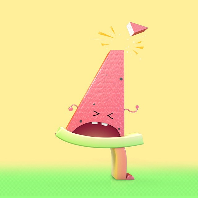 4: watermelon slice who lost his toupée.   36daysoftype #36days_4 #4 #type #typestory #typedesign #typeeveryday #typeeverything #typeexperimental #visualdiary #graphicdesign #design #digitalart #thedesigntip #illustration #kids #children #digitalart #cartoon #doodle #cartooningletter #c4d #3d #3dtype #onehourgallery #characterwithtype #character