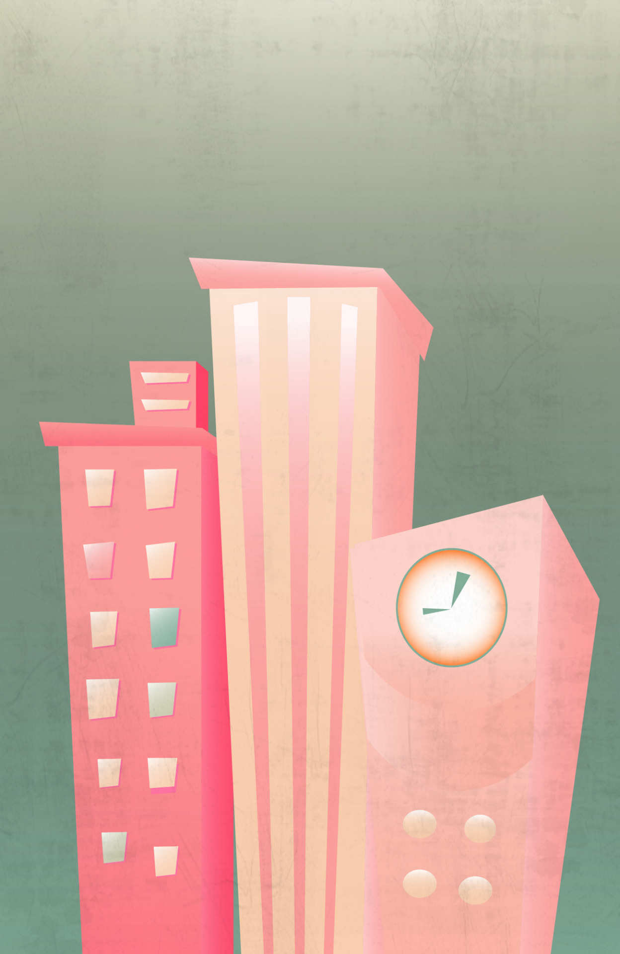 22 January 2014 - Flat Buildings    Stepping out of my comfort zone, without C4D. Trying something flat with Illustrator.    1hour. Illustrator, Photoshop.