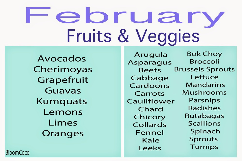 February Fruits & Veggies In Season