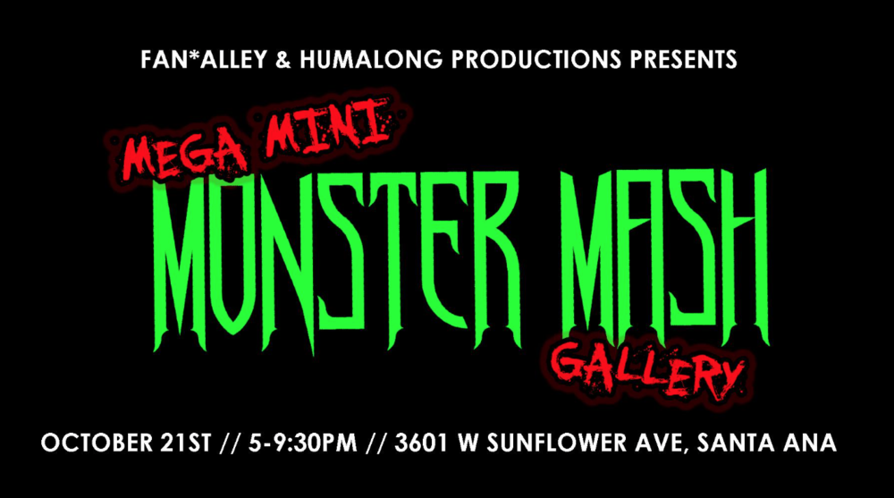 The October Artist Lodge will be back at The Art Institute of Orange County and accompanied by the Mega Mini Monster Mash Gallery curated by Marissa Soto of Humalong Productions. Don't miss this event, it'll be a howling good time!