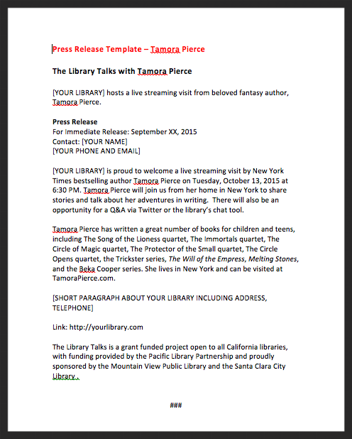 Tamora Pierce Press Release