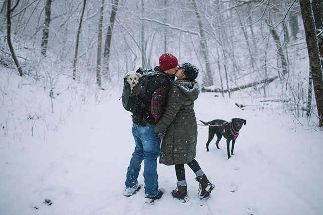 Chad and Ashley at #willowriverstatepark during last weeks little snowfall. And yes that is a dog in that backpack.
