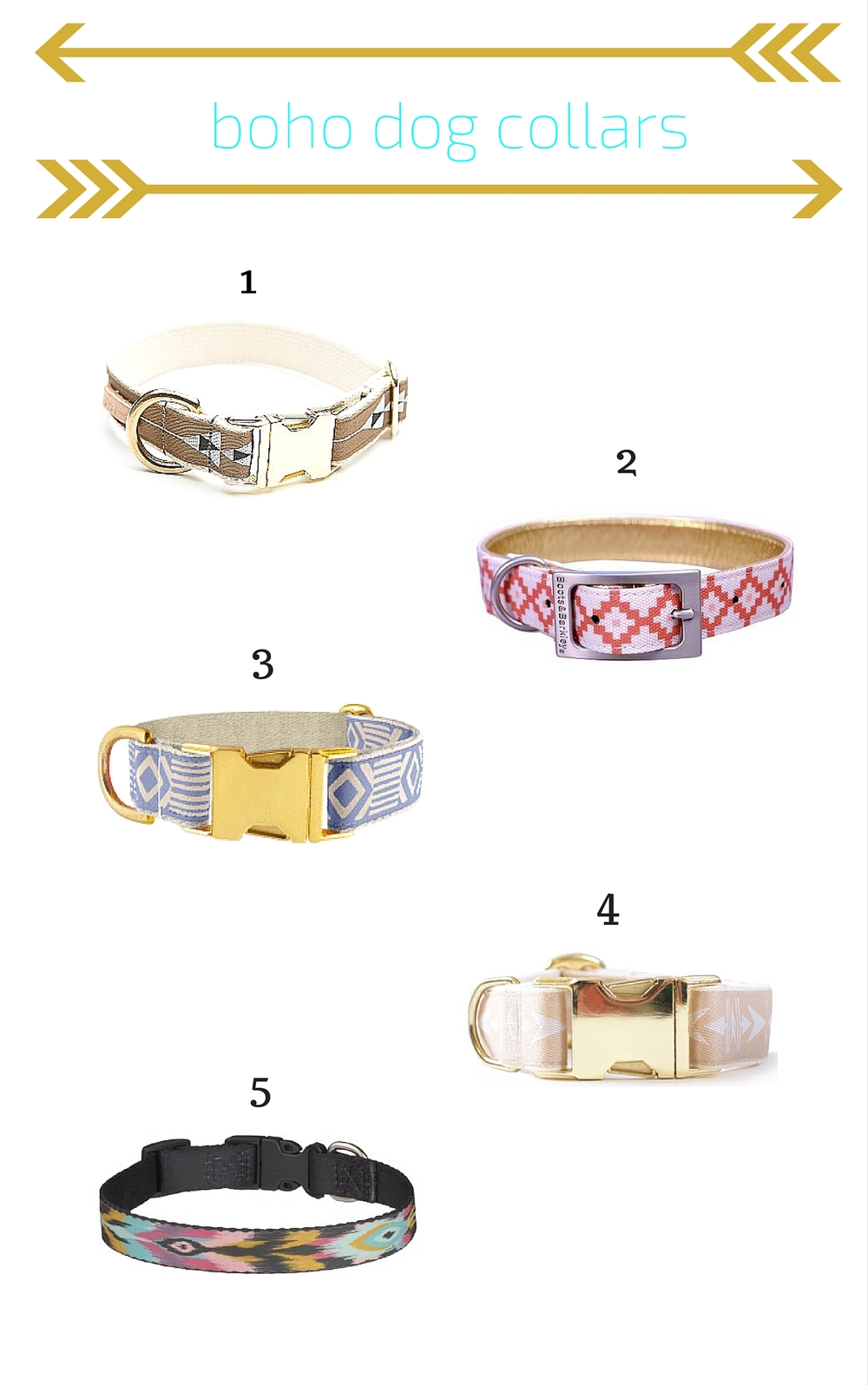 Boho dog collar round up.